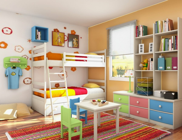 das kinderzimmer interior mit leuchtenden farben erfrischen. Black Bedroom Furniture Sets. Home Design Ideas