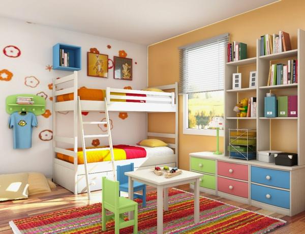 Das kinderzimmer interior mit leuchtenden farben erfrischen - Etagenbett interio ...