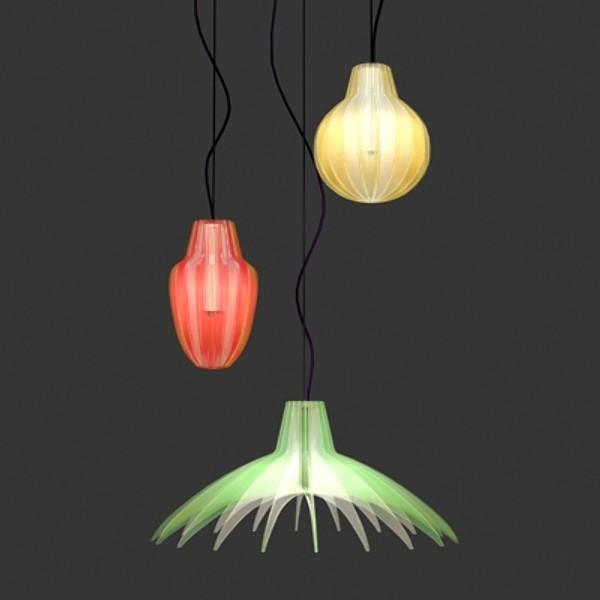 Originelle Pendelleuchten Designs im Esszimmer bunt farben
