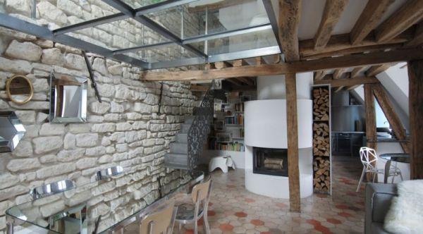 Renovierte Maisonette Wohnung Herzen Paris stein einbaukamin