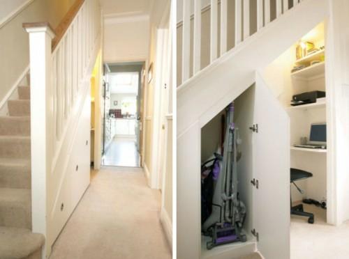 Schöne praktische Lagerraum Ideen unter der Treppe