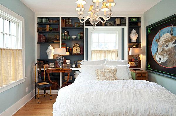 Wand farben im schlafzimmer die ins auge springen - Schlafzimmer dunkelblau ...
