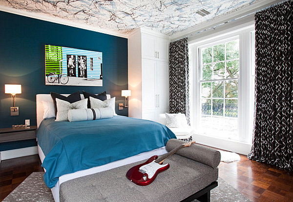 Wand Farben Im Schlafzimmer Dunkelblau Männlicher Stil