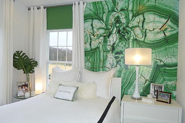Wand Farben Im Schlafzimmer Grün Weiß Kombiniert Bett