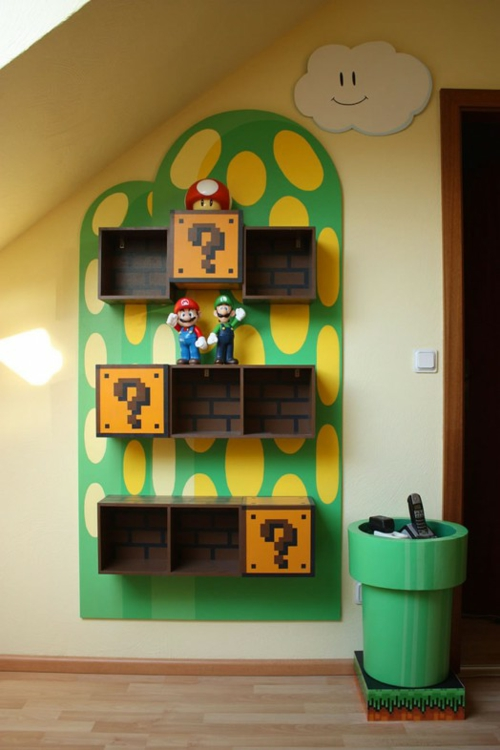 b cher regale im kinderzimmer von super mario inspiriert. Black Bedroom Furniture Sets. Home Design Ideas
