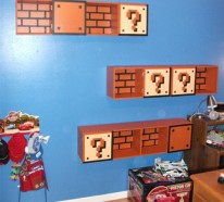Bücher Regale im Kinderzimmer von Super Mario inspiriert
