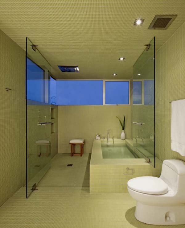 elegante badezimmer interior design ideen badewanne grüne fliesen