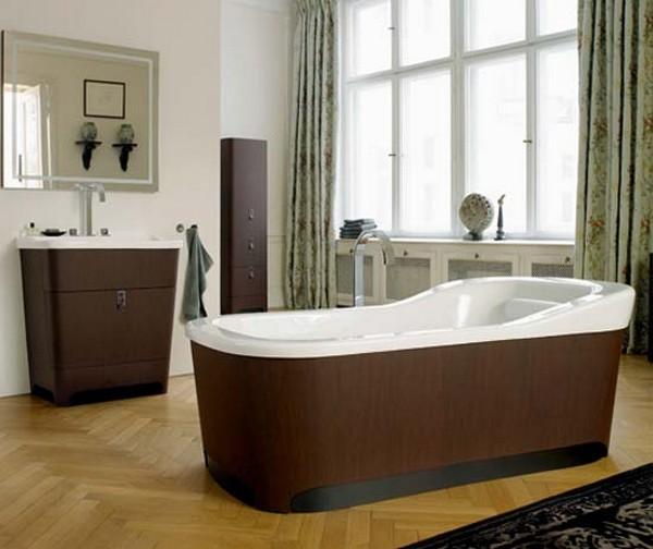 badezimmer interior design ideen badewanne holz oberfläche beckenschrank