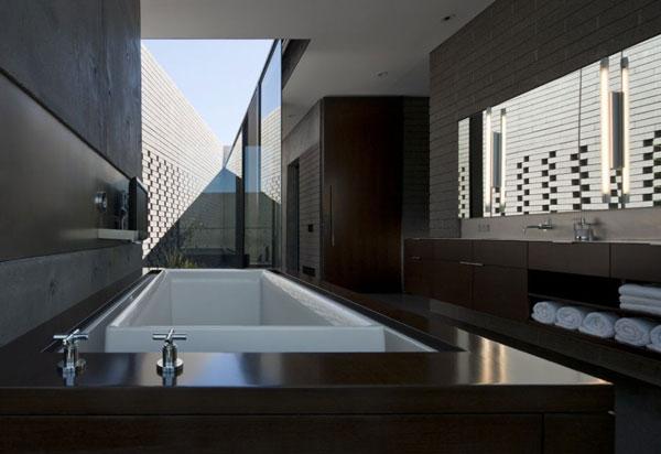 badezimmer interior design ideen dunkles ambiente badewanne