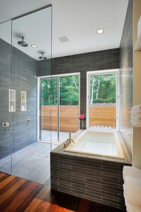 badezimmer interior design ideen glaswände eingebaut badewanne