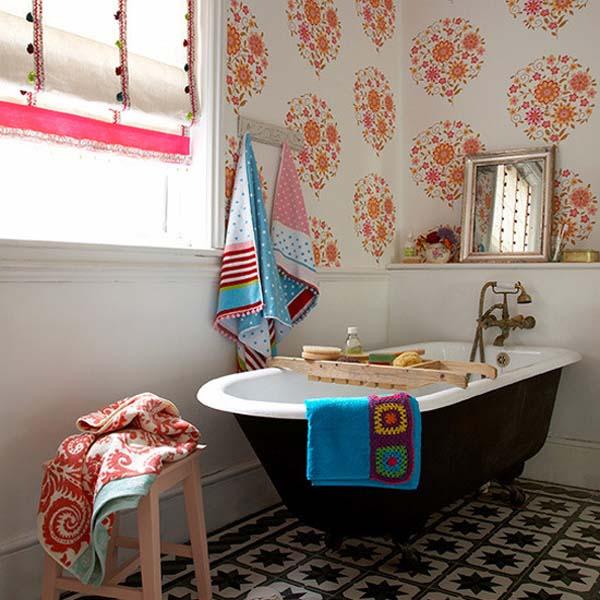 badezimmer interior design ideen glaswände fliesen florale muster