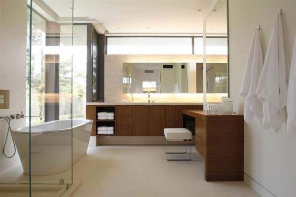 Elegante Badezimmer Interior Design Ideen glaswände holz ausstattung