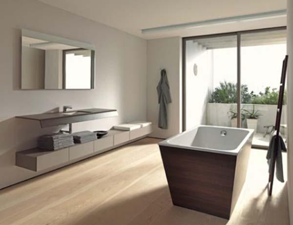 badezimmer interior design ideen glaswände holz oberfläche texturen