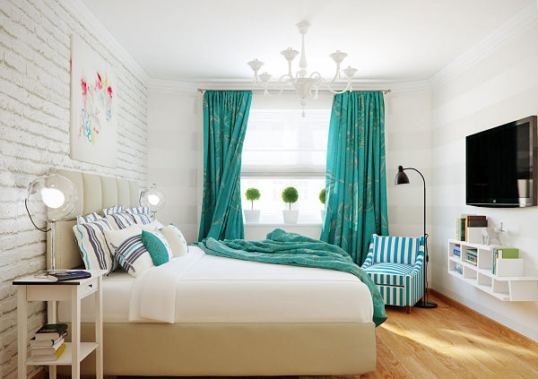 GroBartig Blaue Farbpalette Im Lebhaften Interior Design Gardinen Schlafzimmer
