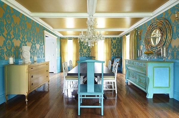 blaue farbpalette im lebhaften interior design holz bodenbelag