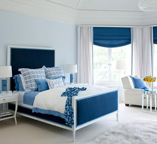 blaue farbpalette im lebhaften interior design kopfteil