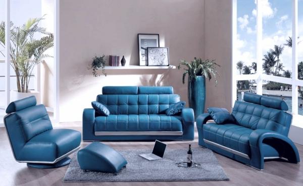 blaue leder möblierung idee design wohnzimmer modern urbanes ambiente