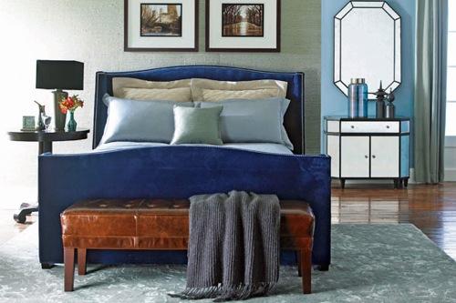 dunkelblaue schlafzimmer möbel bettrahmen holz lackiert
