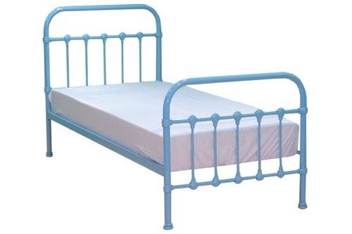 blaue schlafzimmer möbel bettrahmen metallisch