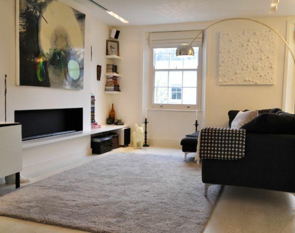 Coole Bcher Wandregale Zimmerecke Wohnzimmer Teppich