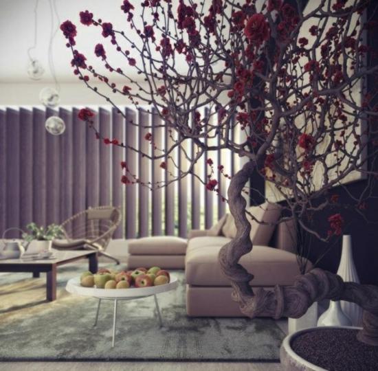 coole moderne interior designs baum apfel beistelltisch