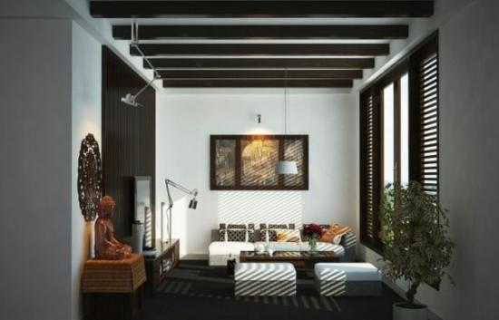 coole moderne interior designs dunkle einrichtung stehlampe hocker