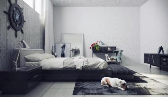 coole moderne interior designs dunkle schlafzimmer sitzkissen