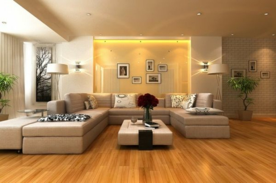 coole moderne interior designs holz bodenbelag große sofas