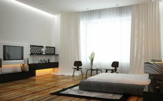 coole moderne interior designs holz bodenbelag polsterung bett