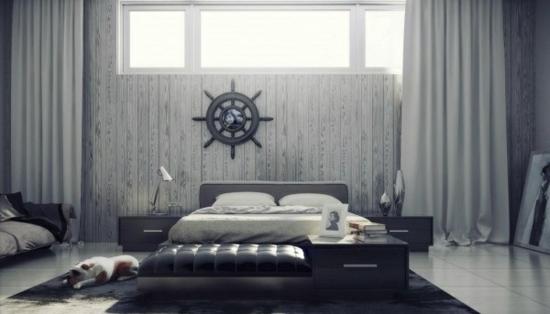 coole moderne interior designs schlafzimmer grau farben nautisch
