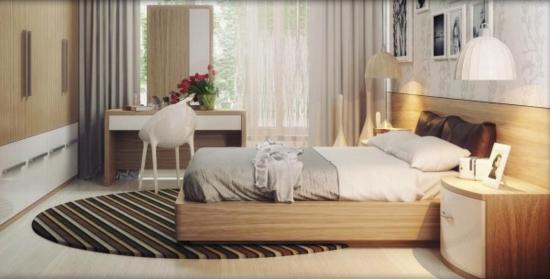 coole moderne interior designs schlafzimmer läufer streifen holzrahmen bett