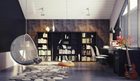coole moderne interior designs wandregale bücher hängestuhl