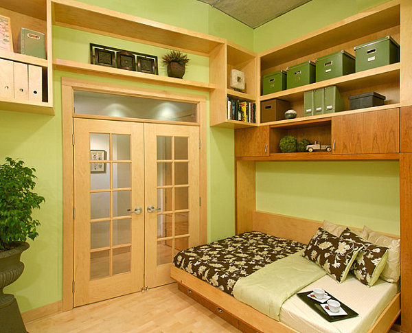 coole praktische schlafsofas kleine wohnungen grüne wände