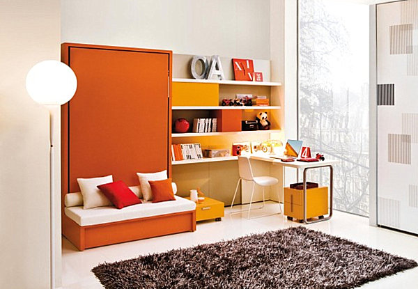 coole praktische schlafsofas kleine wohnungen orange möblierung