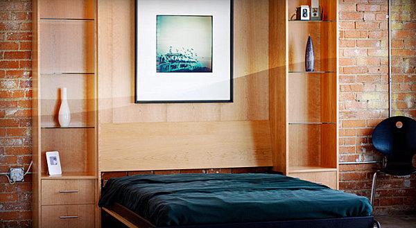 coole praktische ausziehbetten kleine wohnungen wandbild