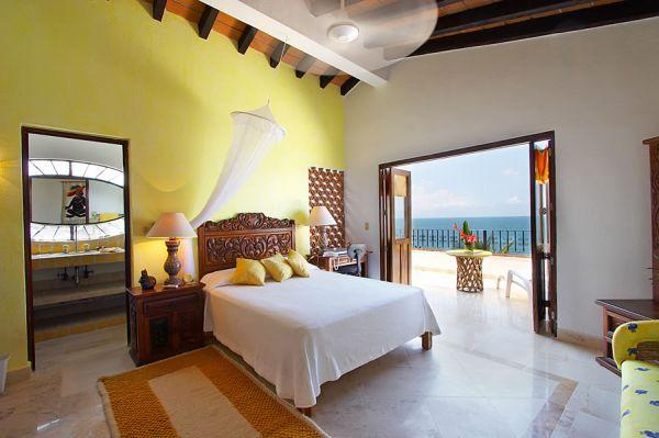 coole schlafzimmer farbpalette akzente gelb wand weiß bettwäsche