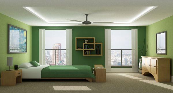 coole schlafzimmer farbpalette akzente grün schattierung