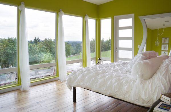 coole schlafzimmer farbpalette akzente grün wand
