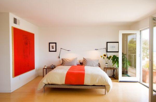 coole schlafzimmer farbpalette akzente orange gesättigt