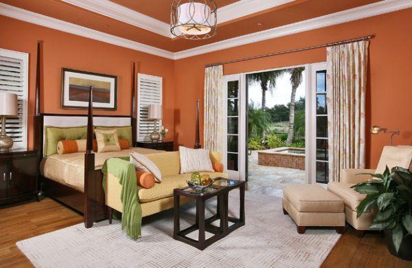 coole schlafzimmer farbschema akzente orange wände
