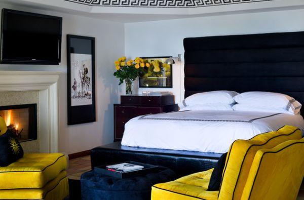 coole schlafzimmer farbpalette gelb akzent neutral weiß