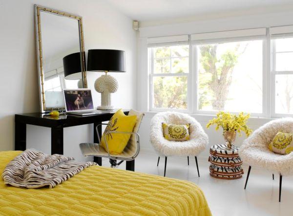 coole schlafzimmer farbpalette gelb weiß schwarz