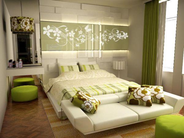 moderne schlafzimmer farbpalette grün creme relaxen