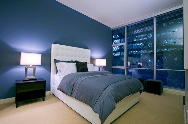 coole schlafzimmer farbpalette grasgrün tief blau dunkel trendy interior