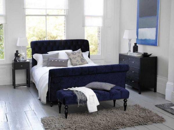 coole schlafzimmer farbpalette modern dunkel blau weiß