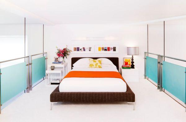 schöne schlafzimmer farbpalette orange blau akzente