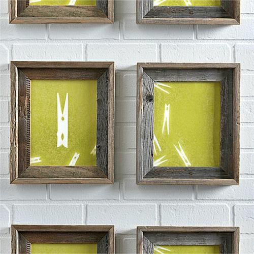 coole wand dekoration ideen bilderrahmen holz wäsche klammer
