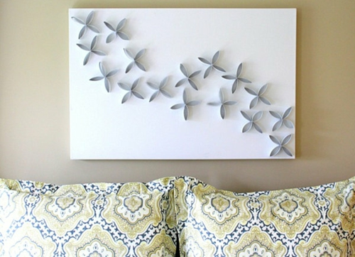 coole wand dekoration ideen florale muster weiß grau blumen