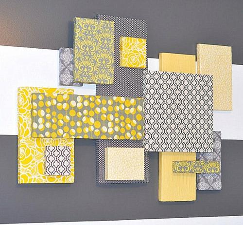 coole wand dekoration ideen gelb grau wei stoff kunstvoll - Wand Gestalten Mit Stoff