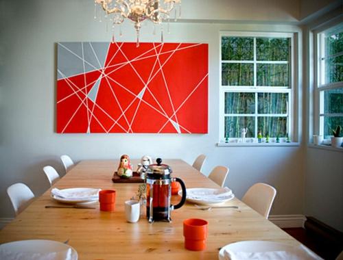 coole wand dekoration ideen rot geometrisch formen linien